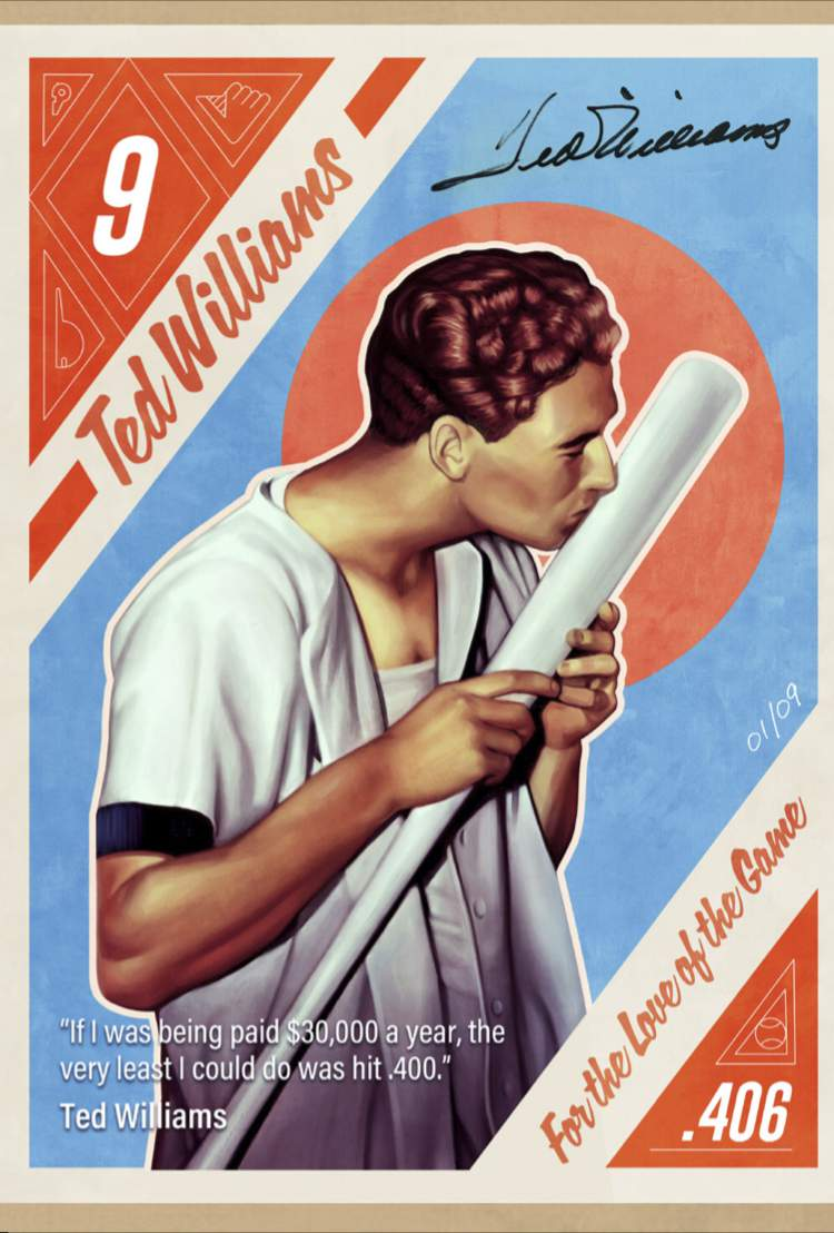 This image created by Brazilian illustrator Andre Maciel, known as Black Madre, provided by Leighton Communications, Inc., shows a copy of one of the nine non-fungible token cards of baseball Hall of Famer Ted Williams to go on auction April 19-24, 2021. Non-fungible tokens can be works of art, video clips or even tweets or news articles tied to a digital record  or blockchain  that allows the collector to prove ownership. (Leighton Communications, Inc. via AP)