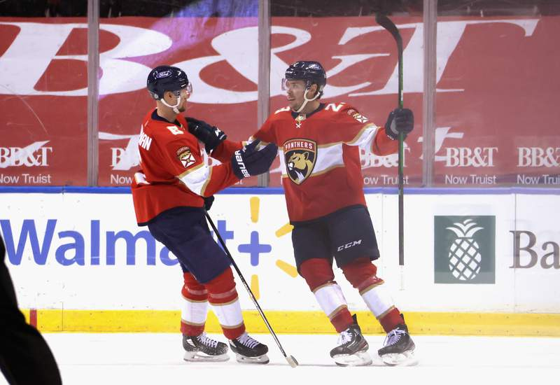 Carter Verhaeghe of the Florida Panthers celebrates his first of two goals against the Detroit Red Wings at the BB&T Center on March 30, 2021 in Sunrise, Florida.