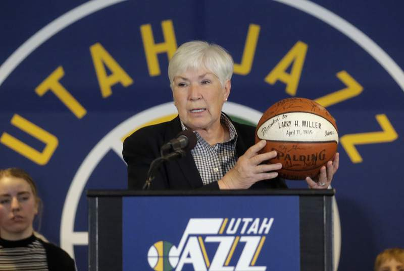 FILE - In this Jan. 23, 2017, file photo, Utah Jazz owner Gail Miller speaks during a news conference in Salt Lake City. The NBA's Board of Governors unanimously approved the sale Friday, Dec. 18, 2020, of the Utah Jazz to a group led by technology entrepreneur Ryan Smith, ending the Miller familys 35-year run as owners of the franchise. (AP Photo/Rick Bowmer, File)