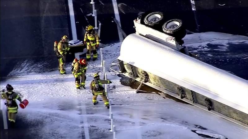 Tanker truck spills 9,000 gallons of fuel on I-95 after crash