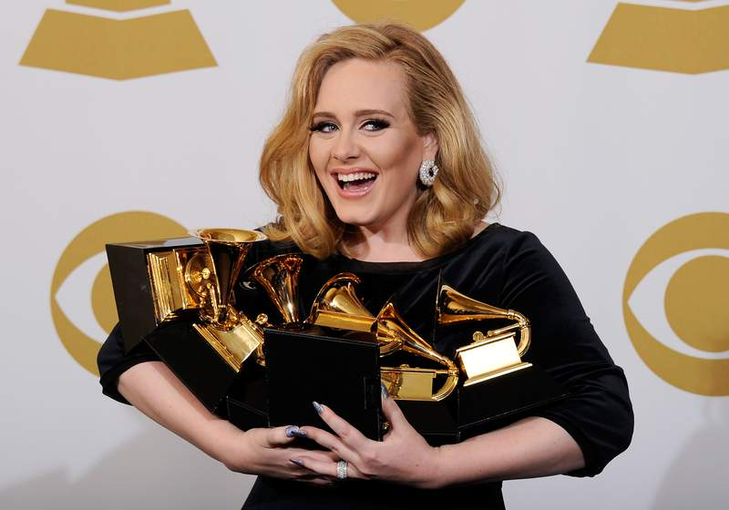 Adele, when she won a bunch of Grammys in 2012. (Photo by Kevork Djansezian/Getty Images)