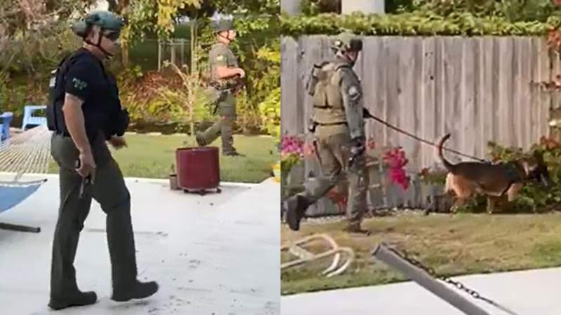 These screengrabs from a video provided to Local 10 News by Robert Diaz show police officers searching for a suspect on Thursday in Pinecrest.