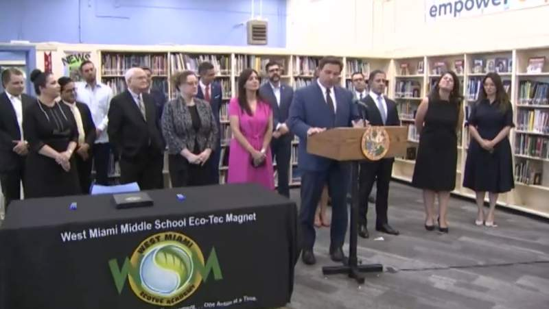 Gov. Ron DeSantis visits West Miami Middle School on Tuesday to sign two Florida bills.