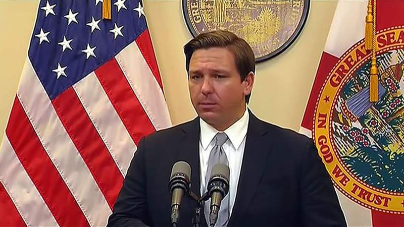 Gov. Ron DeSantis delivers his daily briefing on Florida's response to the coronavirus pandemic on Tuesday.