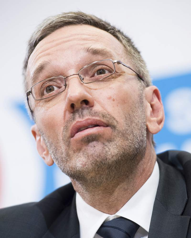 FILE - In this May 20, 2019 file photo Austrian Minister of the Interior Herbert Kickl, of the right-wing Freedom Party, FPOE, addresses the media in Vienna, Austria, Monday, May 20, 2019. Austria's far-right Freedom Party on Monday nominated Herbert Kickl, the country's former interior minister, as its new leader. (AP Photo/Michael Gruber, file)