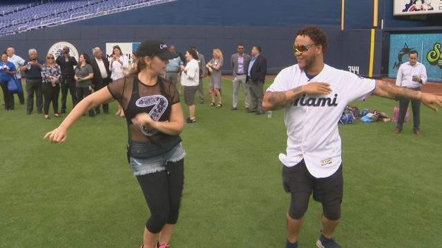 Harold Ramirez shows off his dance moves