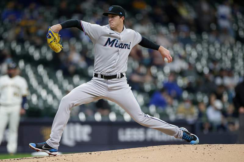 Trevor Rogers of the Miami Marlins throws a pitch in the first inning against the Milwaukee Brewers at American Family Field on April 26, 2021 in Milwaukee, Wisconsin.