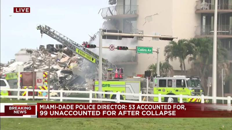 Firefighters deal with small fire coming from partially collapsed building in Surfside