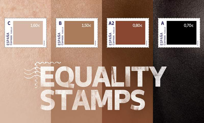 This photo released by Spain's postal service Correos on Friday May 28, 2021, shows a set of four stamps to signify different skin-colored tones. Spains postal service is feeling a backlash from its well-intentioned effort to highlight racial inequality. The company this week issued a set of four stamps in different skin-colored tones. The darker the stamp, the lower the price. The postal service calls them Equality Stamps and launched them on the first anniversary of George Floyds murder in Minneapolis. It said the stamps reflect an unfair and painful reality that shouldnt be allowed. The state-owned companys goal was to shine a light on racial inequality and promote diversity, inclusion and equal rights. But critics are accusing it of having a tin ear for racial issues and misreading Black sentiment. (Correos via AP)