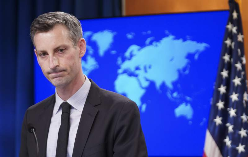 State Department Spokesman Ned Price speaks to reporters during a news briefing at the State Department, Wednesday, Feb. 17, 2021, in Washington. (Kevin Lamarque/Pool via AP)
