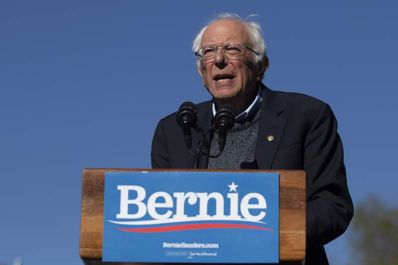 FILE - In this Oct. 19, 2019 file photo, Democratic presidential candidate Sen. Bernie Sanders, I-Vt., speaks to supporters during a rally in New York. A federal appeals court gave the green light Tuesday, May 19, 2020 to New York states June 23 Democratic presidential primary.  The 2nd U.S. Circuit Court of Appeals agreed with a lower court judge who ruled two weeks ago that the primary must include the contest over the states objections. (AP Photo/Eduardo Munoz Alvarez)