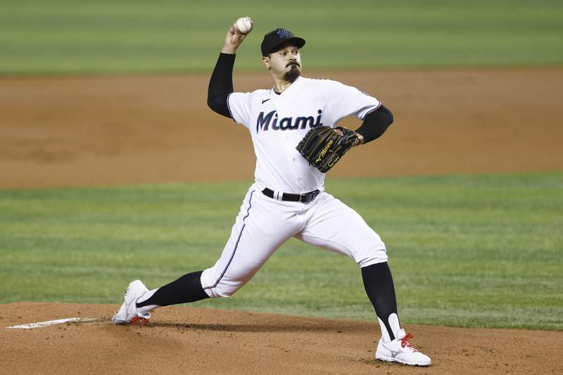 Pablo Lopez of the Miami Marlins delivers a pitch during the first inning against the Colorado Rockies at loanDepot park on June 08, 2021 in Miami, Florida.