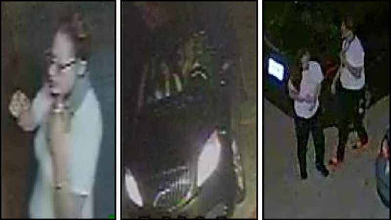Surveillance images of women who Davie police said broke into an officer's car.