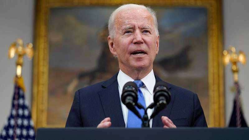 President Joe Biden delivers remarks about the Colonial Pipeline hack, in the Roosevelt Room of the White House, Thursday, May 13, 2021, in Washington. (AP Photo/Evan Vucci)