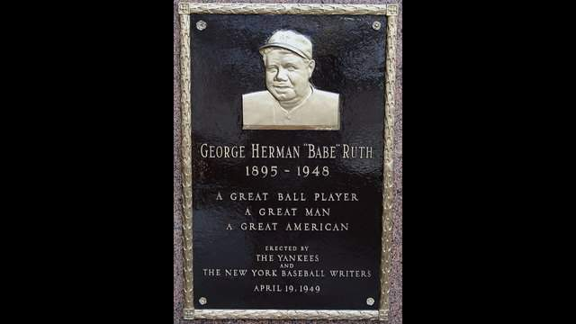 NEW YORK - MAY 02: The plaque of Babe Ruth is seen in Monument Park at Yankee Stadium prior to game between the New York Yankees and the Chicago White Sox on May 2, 2010 in the Bronx borough of New York City. The Yankees defeated the White Sox 12-3. (Photo by Jim McIsaac/Getty Images)