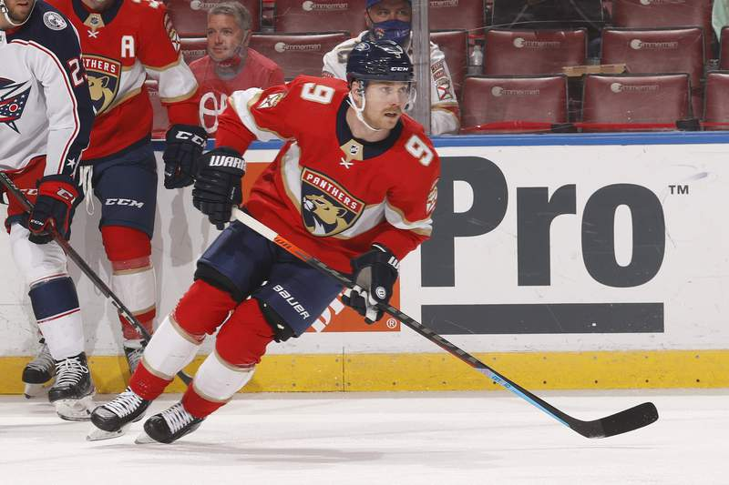 Sam Bennett of the Florida Panthers skates towards the Columbus Blue Jackets net during first period action at the BB&T Center on April 19, 2021 in Sunrise, Florida.