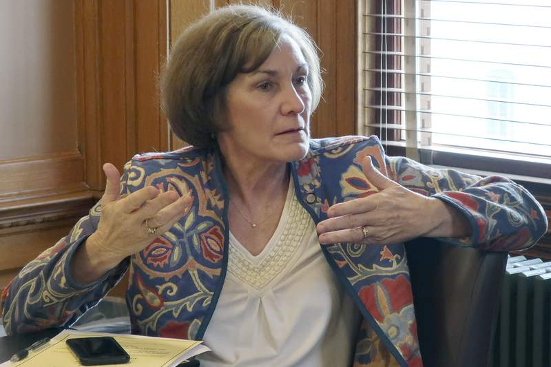 FILE - In this Feb. 13, 2019, file photo, state Sen. Barbara Bollier, D-Mission Hills, speaks during a meeting of Democratic senators at the Statehouse in Topeka, Kan. Bolier is running for Kansas' open Senate seat. (AP Photo/John Hanna, File)