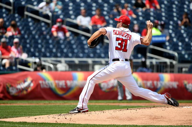 Max Scherzer of the Washington Nationals pitches against the Miami Marlins during the second inning at Nationals Park on May 02, 2021 in Washington, DC.