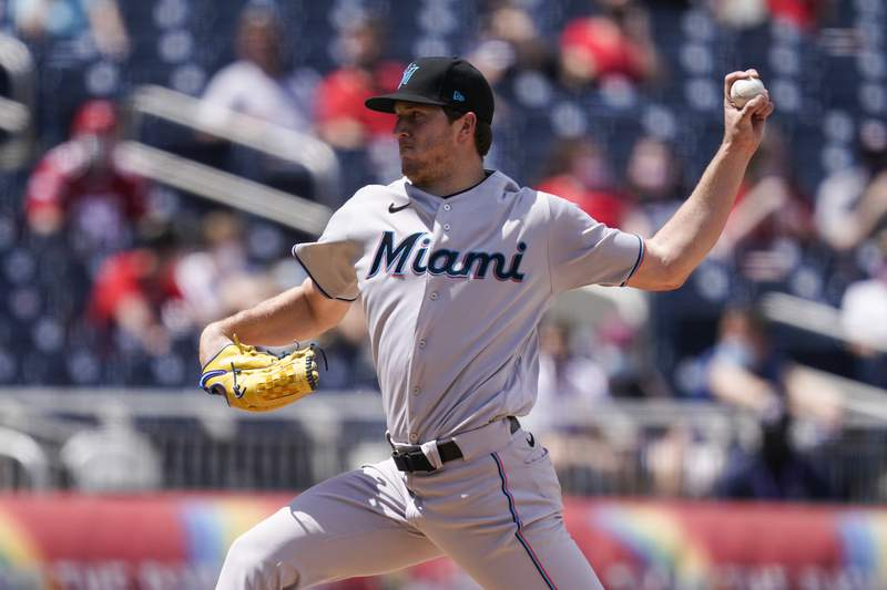 Miami Marlins starting pitcher Trevor Rogers throws during the fourth inning of a baseball game against the Washington Nationals at Nationals Park, Sunday, May 2, 2021, in Washington. (AP Photo/Alex Brandon)