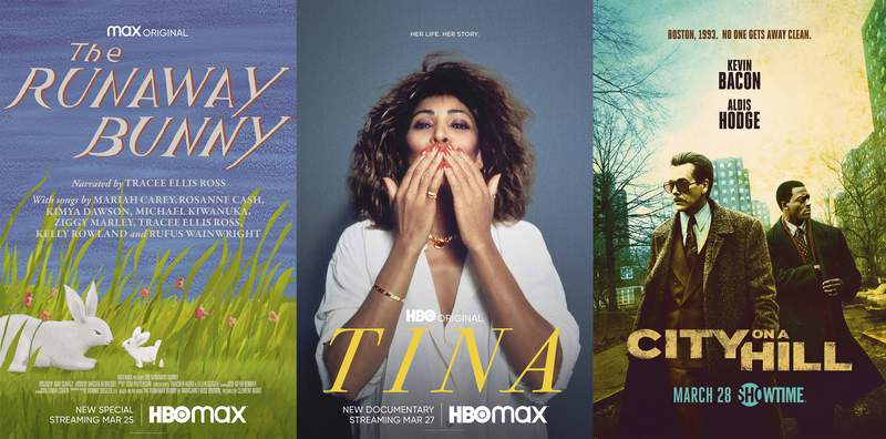 """This combination of photos shows key art for """"The Runaway Bunny,"""" premiering March 25 on HBO Max, left, """"Tina,"""" a documentary about Tina Turner premiering March 27 on HBO Max, center, and """"City on a Hill,"""" a new series premiering March 28 on Showtime. (HBO Max/HBO Max/Showtime via AP)"""
