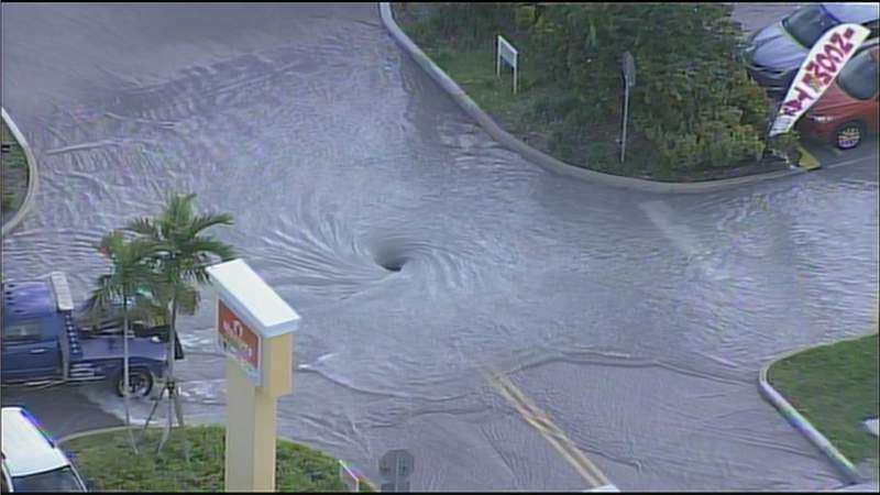 A water main break caused flooding near Bird Road on Tuesday afternoon.