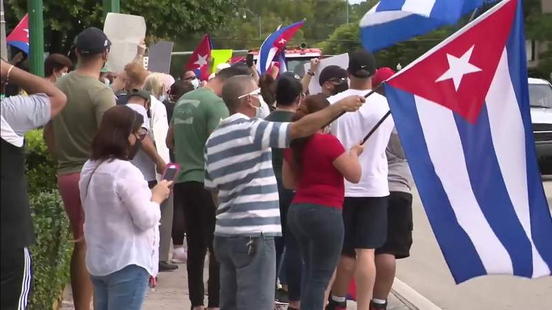 Group turns out at Versailles in show of support for Cuban dissidents in Havana