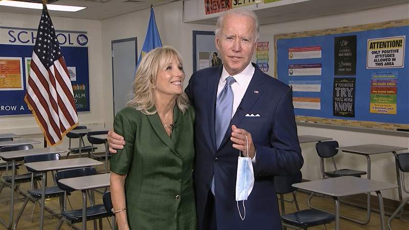 In this image from video, Jill Biden is joined by her husband, Democratic presidential candidate former Vice President Joe Biden, after speaking during the second night of the Democratic National Convention on Tuesday, Aug. 18, 2020. (Democratic National Convention via AP)