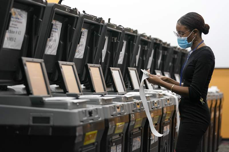 An employee at the Broward Supervisor of Elections Office. (AP Photo/Lynne Sladky)
