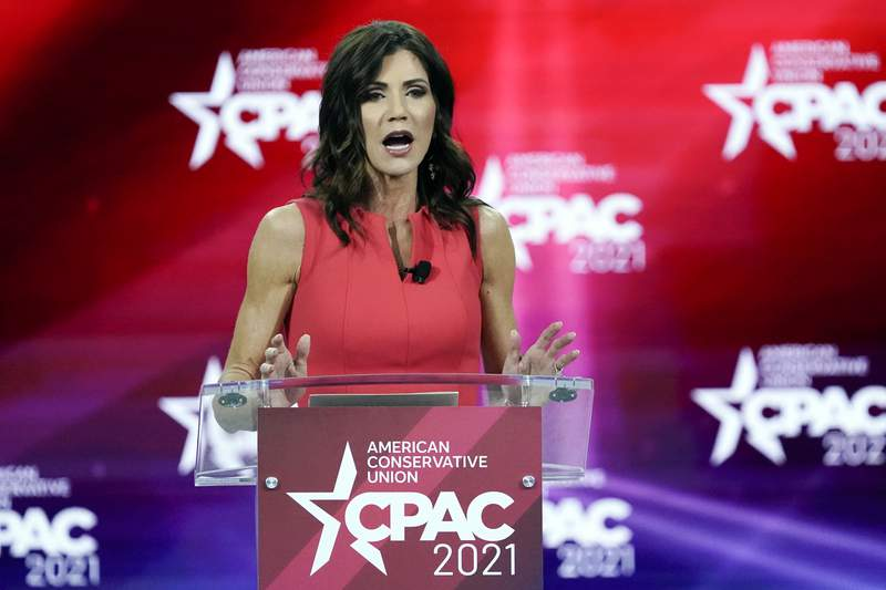 FILE - In this Feb. 27, 2021, file photo, South Dakota Gov. Kristi Noem speaks at the Conservative Political Action Conference (CPAC) in Orlando, Fla. Gov. Noem announced Tuesday, June 29, 2021, that she will join a growing list of Republican governors sending law enforcement officers to the U.S. border with Mexico. (AP Photo/John Raoux, File)