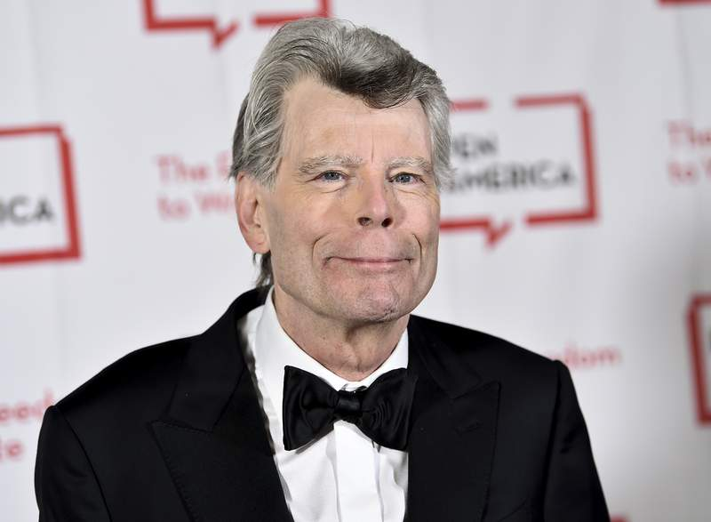 FILE - In this Tuesday, May 22, 2018, file photo, PEN literary service award recipient Stephen King attends the 2018 PEN Literary Gala at the American Museum of Natural History in New York. Author Kings foundation covered the $6,500 cost of publishing a 290-page manuscript by students in Farwell Elementary Schools Author Studies Program. Fletcher McKenzie and the Passage to Whole is a story about a Maine boy by Gary Savage. But it was reworked to include students experiences during the coronavirus. (Photo by Evan Agostini/Invision/AP, File)