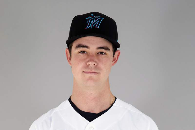 FILE - This is a 2021 file photo showing Will Stewart of the Miami Marlins baseball team. Miami Marlins pitching prospect Will Stewart landed a $10-an-hour offseason hospital job in the midst of the coronavirus pandemic and said the experience made him more grateful for baseball. There were 25-, 26-, 28-year-olds getting COVID and dying, Stewart said. (Adam Glanzman/MLB Photos via AP, FIle)