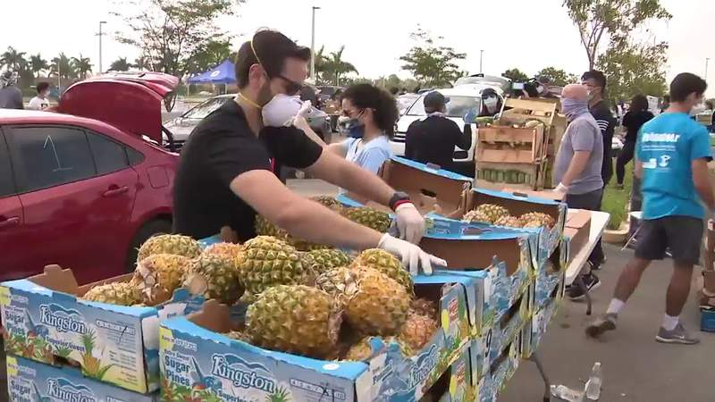 People line up early for food distributions in Miami-Dade