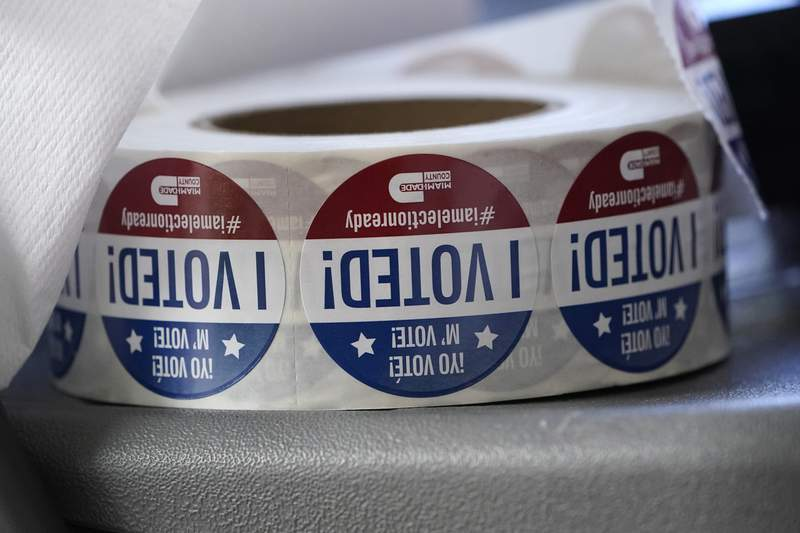 """In this Tuesday, Oct. 6, 2020, file photo, a roll of """"I Voted!"""" stickers are shown, at the Miami-Dade County Elections Department in Doral, Fla. The Fair Elections Center and the Southern Poverty Law Center filed a federal lawsuit Monday, June 14, 2021, on behalf of Head Count and the Harriet Tubman Freedom Fighters. The suit asserts that the new law foments distrust against civic organizations that work to register voters. (AP Photo/Wilfredo Lee, File)"""