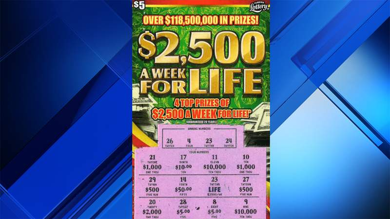 This ticket showed a $2,500 a week for life top prize for a lucky Florida man.