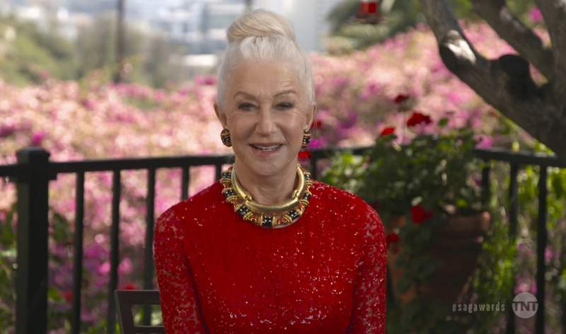 In this video grab provided by the SAG Awards, Helen Mirren presents the award for outstanding performance by a cast in a motion picture during the 27th annual Screen Actors Guild Awards on April 4, 2021. (SAG Awards via AP)