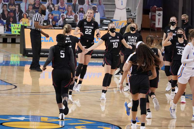 Stanford players celebrate during a timeout as they jump ahead of UCLA during the second half of an NCAA college basketball game Monday, Dec. 21, 2020, in Los Angeles. (AP Photo/Marcio Jose Sanchez)