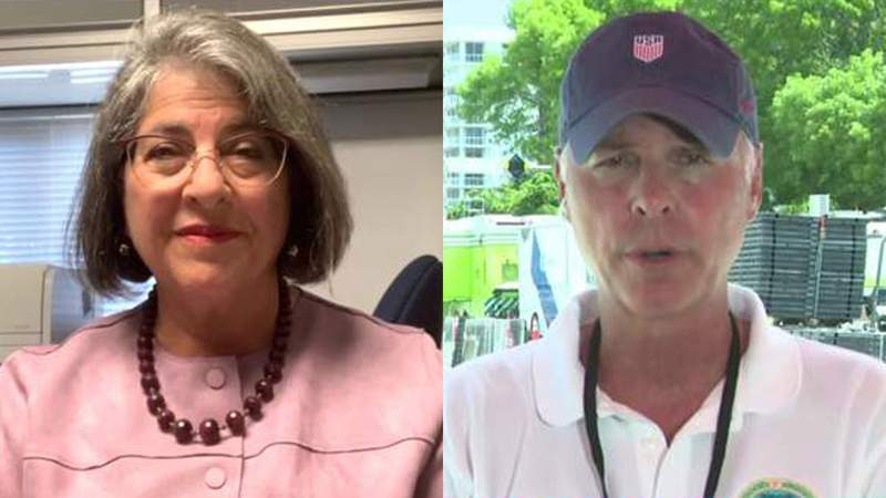 Recent letters between Miami-Dade Mayor Daniella Levine Cava, left, and Surfside Mayor Charles Burkett, right show there has been tension behind the scenes in the aftermath of the June 24th building collapse that killed 98 people.