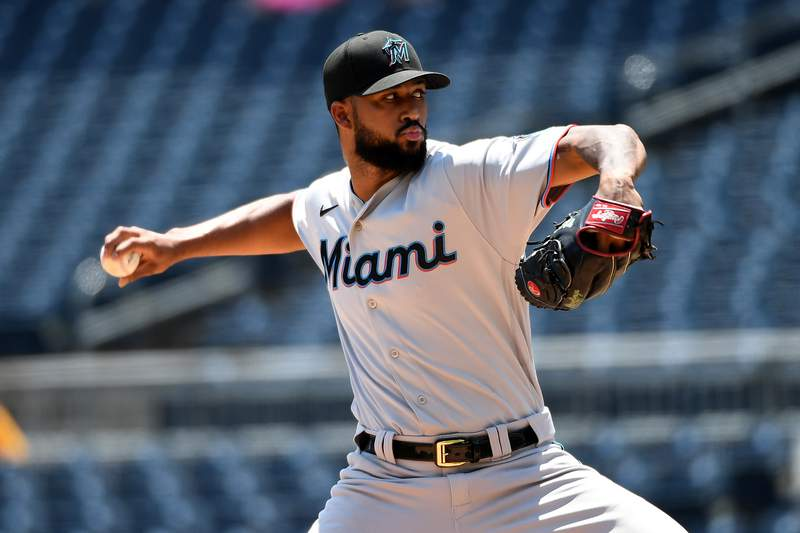 Sandy Alcantara of the Miami Marlins delivers a pitch in the second inning during the game against the Pittsburgh Pirates at PNC Park on June 6, 2021 in Pittsburgh, Pennsylvania.