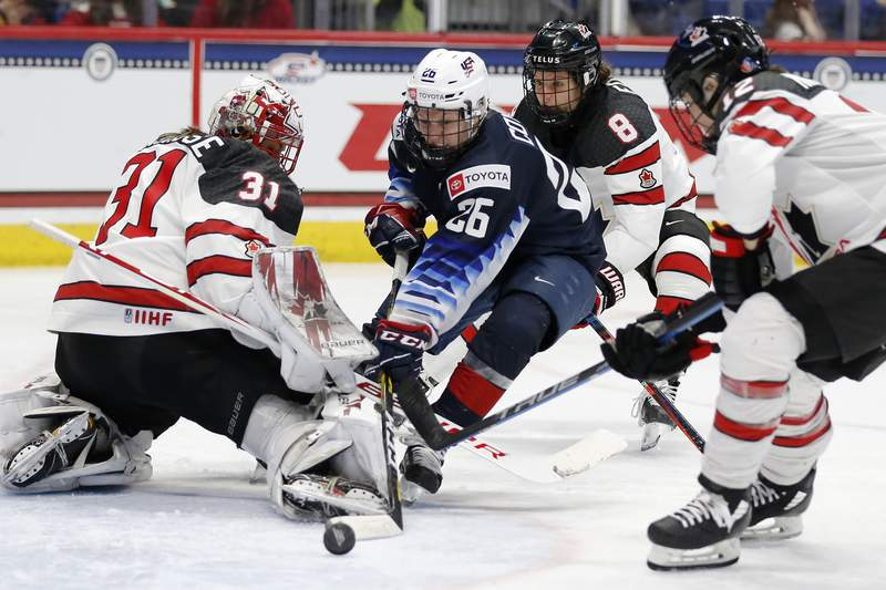 Canada's Genevive Lacasse (31) blocks a shot by United States' Kendall Coyne Schofield (26) during the third period of a rivalry series women's hockey game in Hartford, Conn., Saturday, Dec. 14, 2019. (AP Photo/Michael Dwyer)