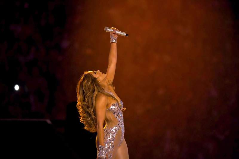 Jennifer Lopez performs onstage during the Pepsi Super Bowl LIV Halftime Show at Hard Rock Stadium on February 02, 2020 in Miami, Florida. (Photo by Jeff Kravitz/FilmMagic)
