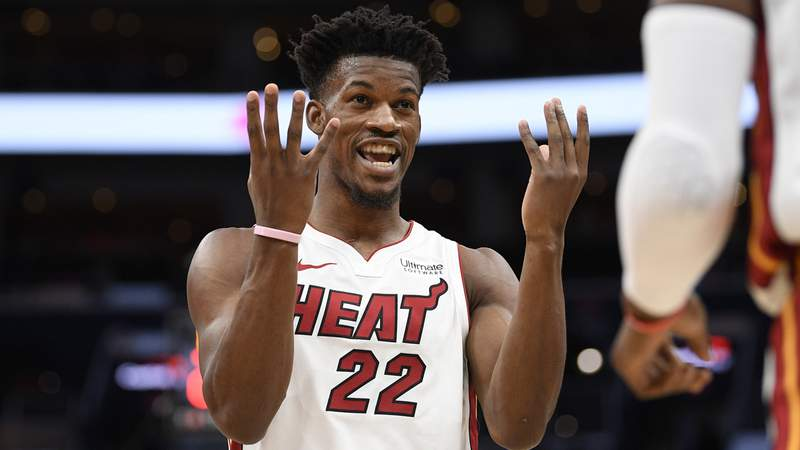 Jimmy Butler gestures during the first half of the game against Washington