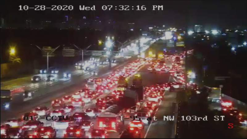 Traffic on I-95 in Miami-Dade County following a deadly crash between a motorcyclist and an SUV.