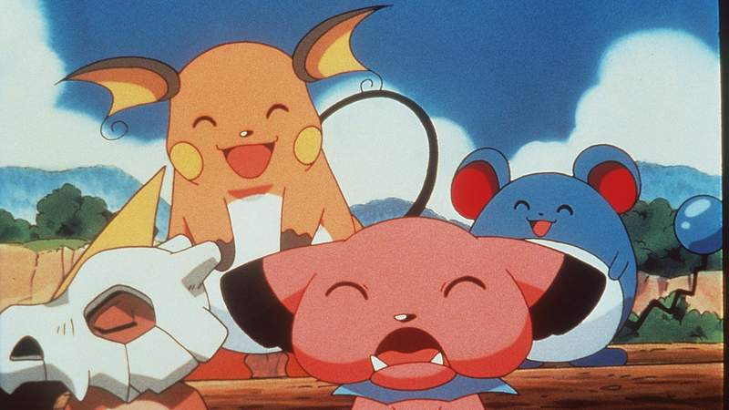 """Cubone, Raichu, Snubble And Marrill In The Animated Movie """"Pokemon:The First Movie."""""""