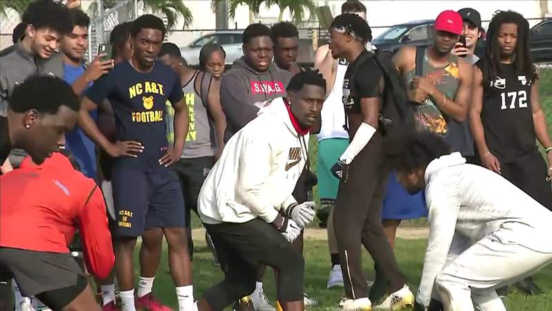Antonio Brown joined by dozens for playful workout at Hollywood's Boggs Park