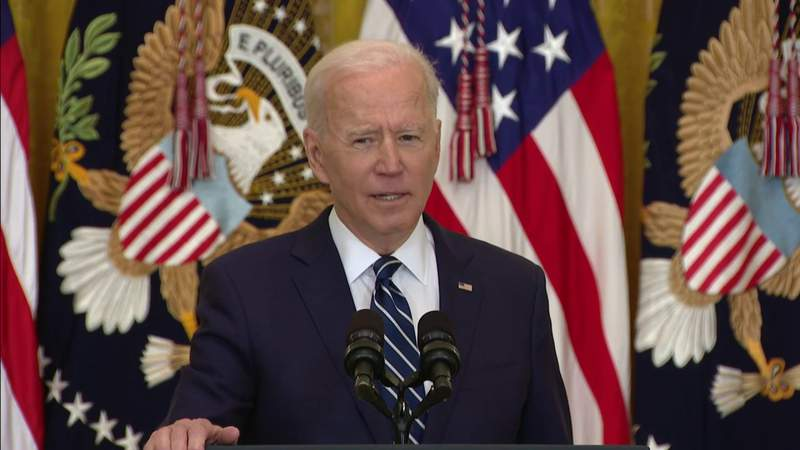 President Joe Biden holds his 1st official news conference