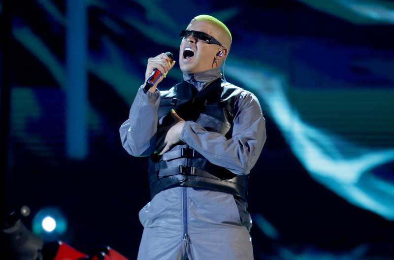 FILE - Bad Bunny performs a medley at the Billboard Latin Music Awards in Las Vegas on April 25, 2019. The Puerto Rican superstar is the music platforms most-streamed artist of the year with 8.3 billion streams globally. The Latin Grammy winner and hitmaker, who released a new album last week, leads a top five list that also includes Drake, J Balvin, Juice WRLD and the Weeknd. (Photo by Eric Jamison/Invision/AP, File)