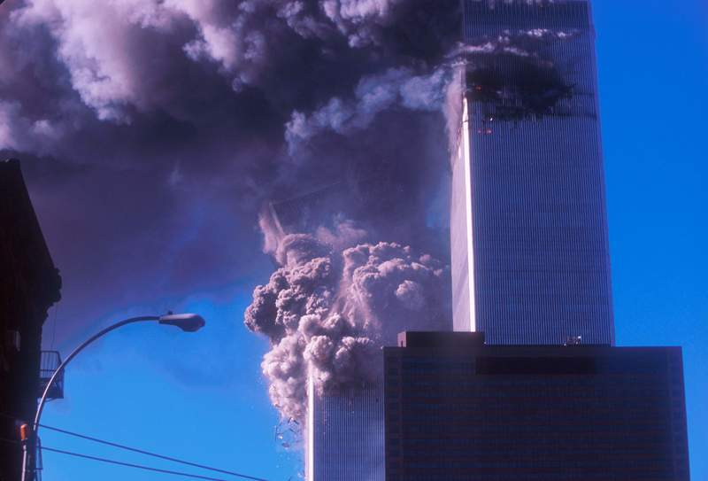 One of the World Trade Center's Twin Towers collapses after it was struck by a commercial airliner Sept. 11, 2001 in New York City.