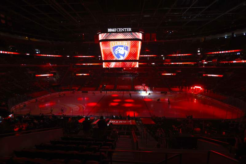 A general view of the BB&T Center as the ice is lit up prior to the game between the Florida Panthers and the Tampa Bay Lightning on May 10, 2021 in Sunrise, Florida.