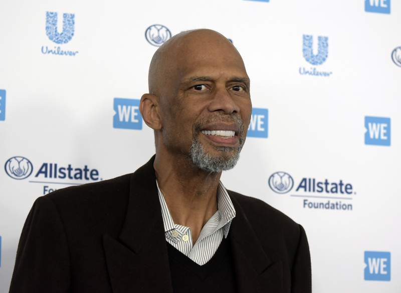 FILE - Kareem Abdul-Jabbar arrives at WE Day California at The Forum on Thursday, April 25, 2019, in Inglewood, Calif. Kareem Abdul-Jabbar appreciates what todays NBA players are doing in their attempts to make the world better, how theyre using their voices and platforms as conduits for change. The NBA announced Thursday, May 13, 2021 the creation of a new award  the Kareem Abdul-Jabbar Social Justice Champion Award  to recognize players who are making strides in the fight for social justice.(Photo by Richard Shotwell/Invision/AP, File)