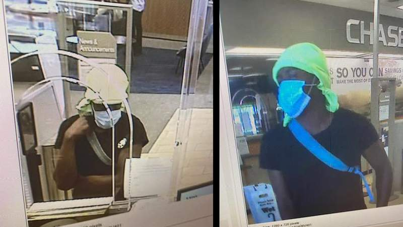 Photos taken of the surveillance footage from the Chase Bank robbery in Sunrise.